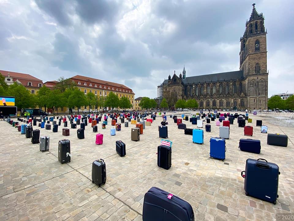 Demonstration von Touristikern und Reisebüros in Magdeburg, Foto: Rayk Danker
