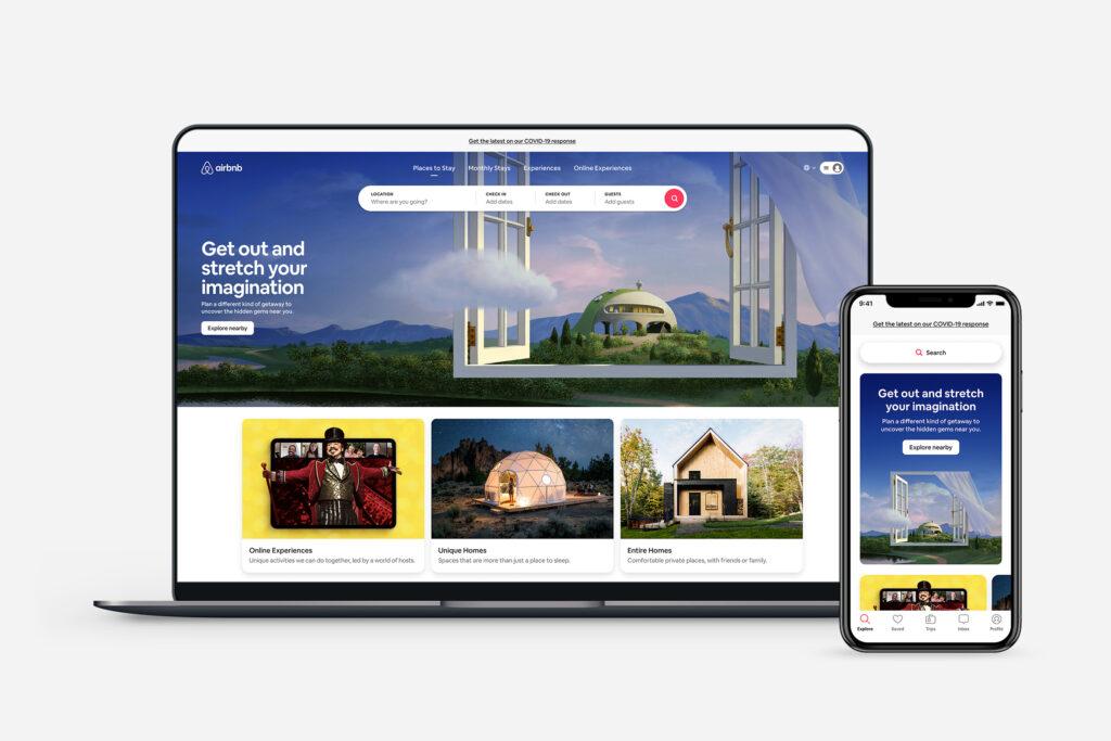 Airbnb mobile und Desktop